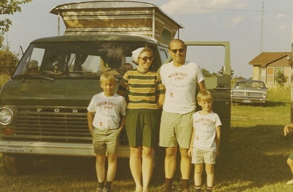 Our family in our MOON SHOT 1969 shirts