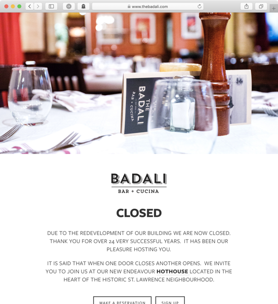 Badali's web site screenshot. Now closed.