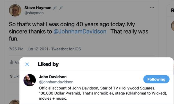 John Davidson Liked My Tweet